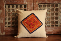 Cushion made from vintage French linen and antique Afghan textile - blue beading